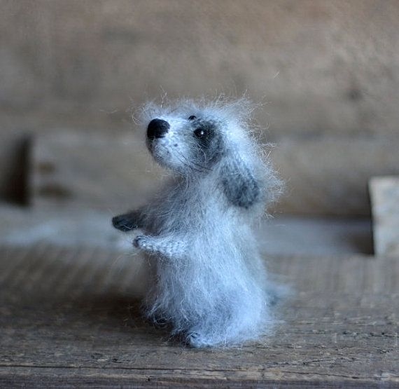 Knitted Cute Dog Stuffed Animal Dog Gray Puppy Dog by OlgaMareeva