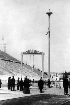 The rope climb was an official event in the earliest modern Olympics–Athens,1896.While competitors were originally judged on both speed and style,Olympian rope climbers competing in the 20th century merely had to race to the top.The most impressive win in the history of the event–which was taken off the program after the L.A.Olympics of 1932–took place in St.Louis 1904,when U.S.gymnast George Eyser won gold despite having a wooden leg.
