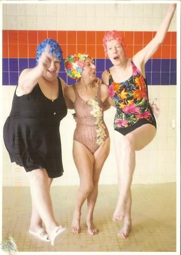 old ladies swimming | ... NL-386709: A card with 3 funny old ladies in swimming suits, haha