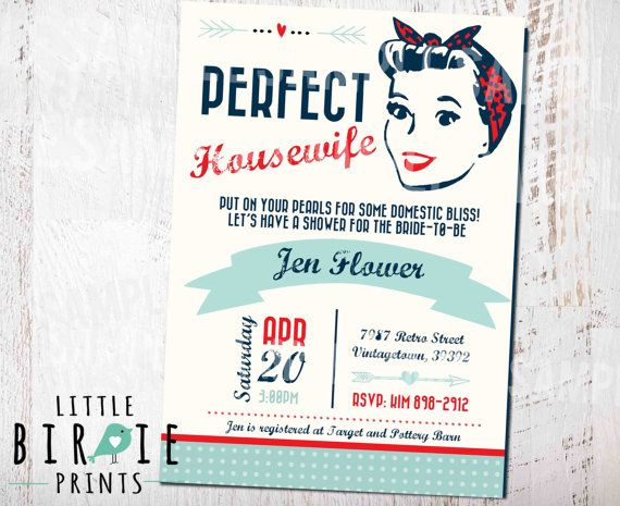 Housewife Retro BRIDAL SHOWER INVITATION by littlebirdieprints