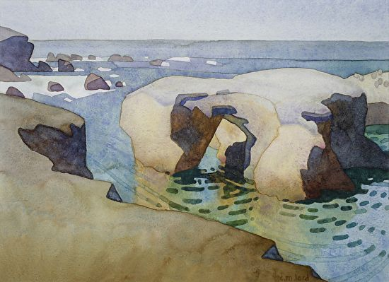 """October Morning, Point Buchon by Carolyn Lord Watercolor ~ 11"""" x 15"""""""