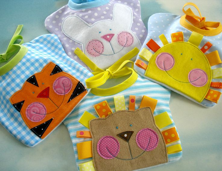 Happy Face Baby Bibs Sewing PDF e Pattern - Lion, Sun, Bunny and Tiger. $3.99, via Etsy.