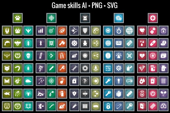 Game skills icons by cruizRF on Creative Market