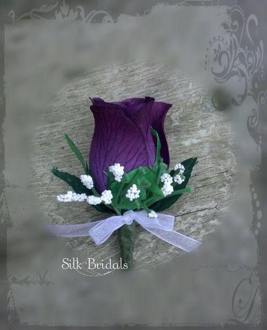 Purple plum Boutonniere rose Groom groomsman bridal silk wedding flowers eggplant