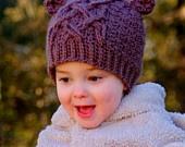 Crochet Pattern Little Bear Cable Hat