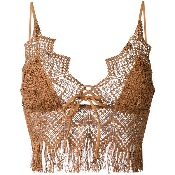 Ermanno Scervino crochet bikini top (2120 MAD) ❤ liked on Polyvore featuring swimwear, bikinis, bikini tops, brown, macrame swimwear, swimsuit tops, brown bikini, crochet swimwear and swim suit tops