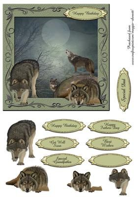 Wolves in the Mist 3D Quick Card Topper on Craftsuprint - Add To Basket!