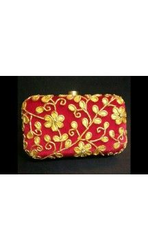 Women's Red Color Fashion Embroidery Work Clutch Purse | FH10351410 Follow Us @heenastyle  #Embroidery #Clutch #Fashion #Bags #Online #Clutchbag #BagsOnline #OnlineShopping #Heenastyle