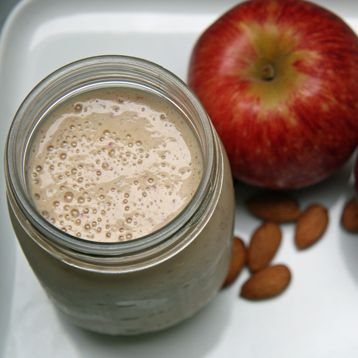 Breakfast shake: 5 raw almonds,  1 red apple,  1 banana,  3/4 cup nonfat Greek yogurt,  1/2 cup nonfat milk , 1/4 teaspoon cinnamon.