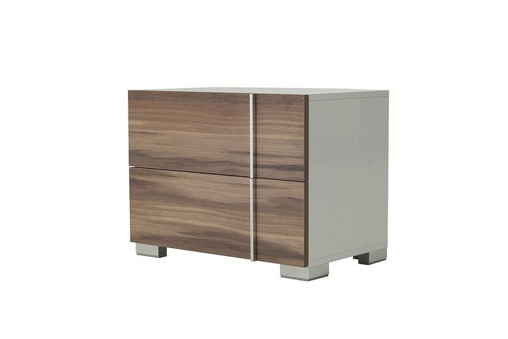 "Nova Domus Giovanna Italian Modern White & Cherry Nightstand. The Nova Domus Giovanna Italian Modern White & Cherry Nightstand exudes style featuring a lush white gloss and cherry veneer finish. It features 2 soft-closing drawers with stainless steel accents. Measuring W27"" x D16"" x H21"", this made in Italy nightstand requires no assembly. Dimensions  W27"" x D16"" x H21"" White Gloss and Cherry Veneer Finish  Stainless Steel Accents and Feet  Left & Right Side Design  2 Drawers…"