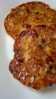 Bacon Corn fritters.  Can you just taste a drizzle of maple syrup on these?  OMG