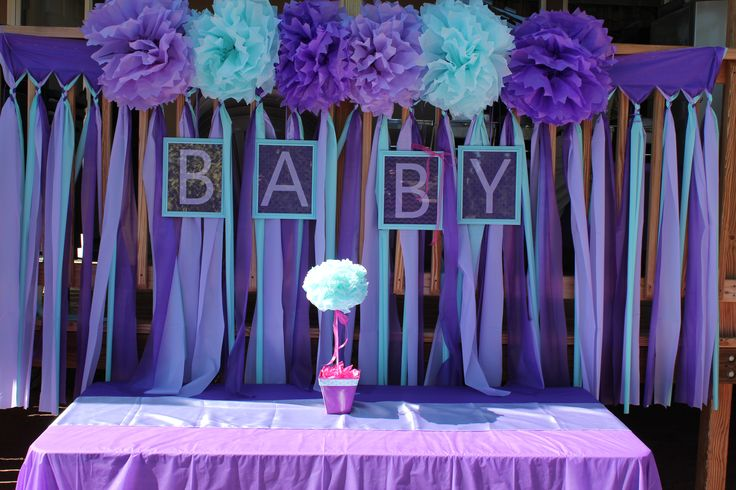 Purple Turquoise Baby Girl Shower