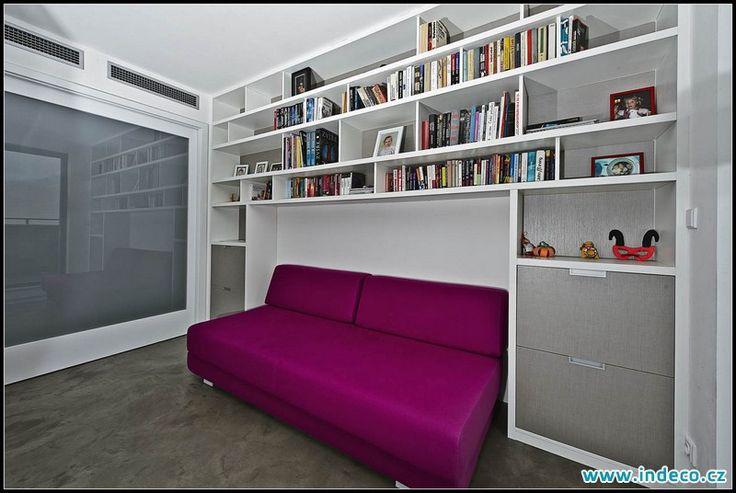 Knihovna s dostatkem úložného prostoru v moderním provedení www.indeco.cz