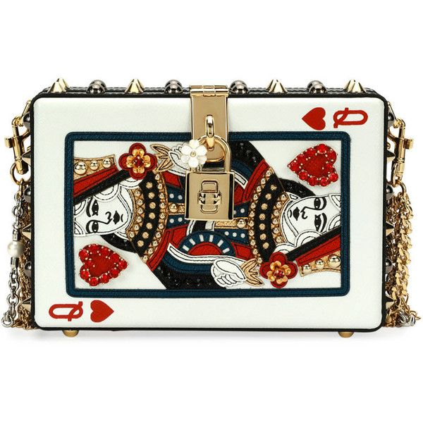 Dolce Gabbana Queen of Hearts Box Clutch Bag, Black/Red ❤ liked on Polyvore featuring bags, handbags, clutches, red clutches, red purse, dolce gabbana purses, hardcase clutch and hard clutch