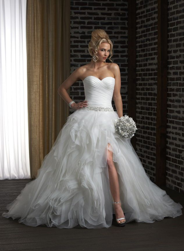 Bridalup Supplies Sexy Ruched Sweetheart Split Front Tiered