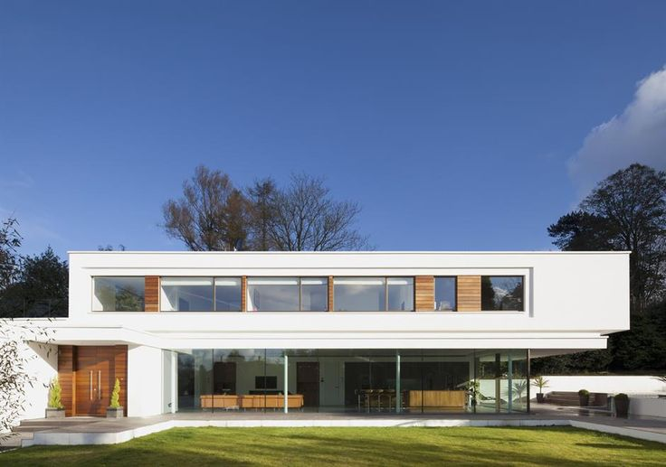 aluminium windows to the first floor of the award winning contemporary home; white lodge