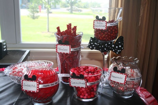 Mickey Mouse Bridal Shower - Red and Black Candy Bar