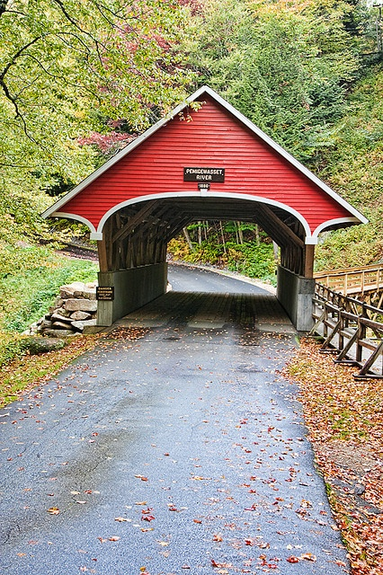 Pemigewasset River Covered Bridge in the Flume, Maine, USA