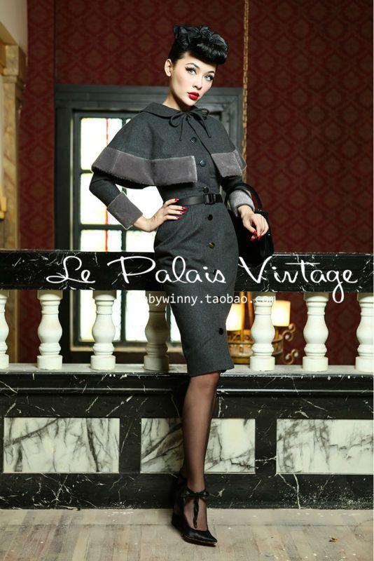 FREE SHIPPING Le Palais Vintage elegant retro style Hepburn woolen Babydoll Dress Cape coat suit