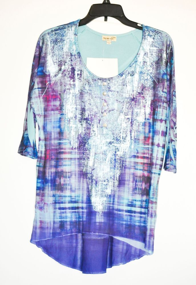 One World Live and Let Live Women Tunic Abstract 3/4 Sleeve Petite size M NWT #OneWorld #Tunic #Casual