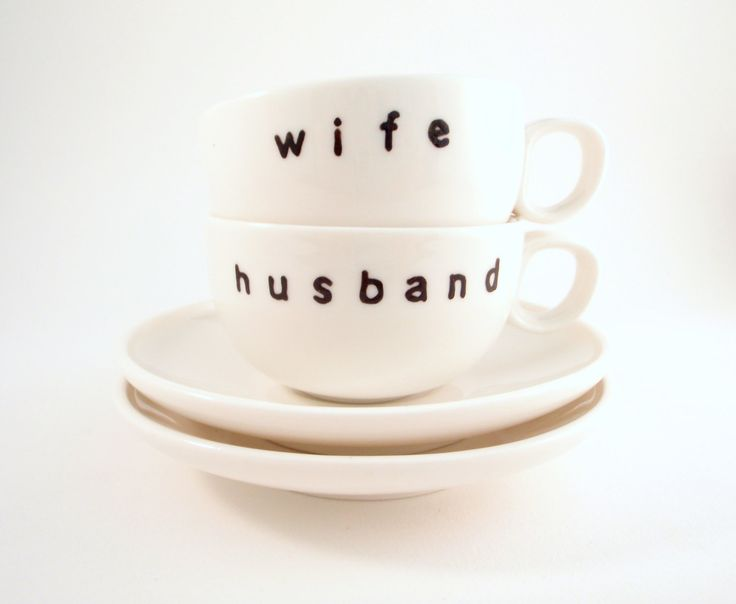 <3  Hand Painted Husband and Wife Espresso Cups and Saucers. $24.00, via Etsy.: Wife Espresso, Ideas Wedding, Hands Paintings, Husband Wife, Paintings Husband, Gifts Ideas, Coffee Cups, Espresso Cups, Wedding Gifts
