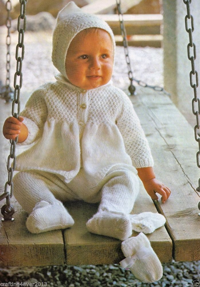 """VINTAGE PRAM SET OF 4 """"DOUBLE MOSS"""" WITH PIXIE HOOD 46-56 CMS 4PLY KNITTING PATTERN"""
