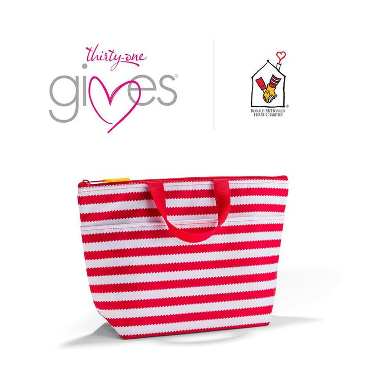 The Thirty-One RMHC Thermal Tote bag created to celebrate our 40th anniversary. For every Thermal Tote purchased in this print, 31 cents will be donated to RMHC to help sick children heal faster by giving them the gift of family.