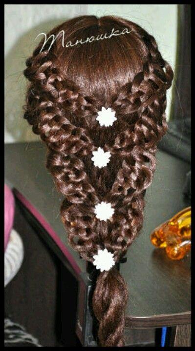 Bilateral 4 strand slide up braids tied together