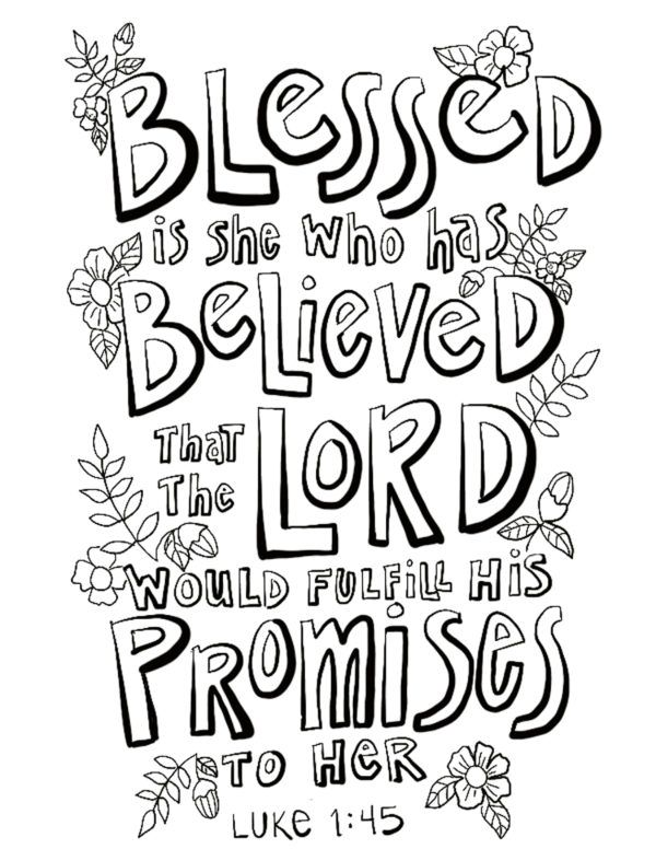 Luke 1 45 Coloring Page On Procreate Hand Lettering Lettering Coloring Pages