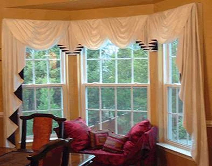 42 best soft furnishings images on pinterest blinds for Curtain treatments for bay windows
