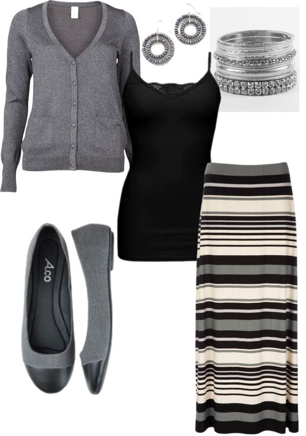 """Grey stripe maxi skirt"" by debra-hill on Polyvore"