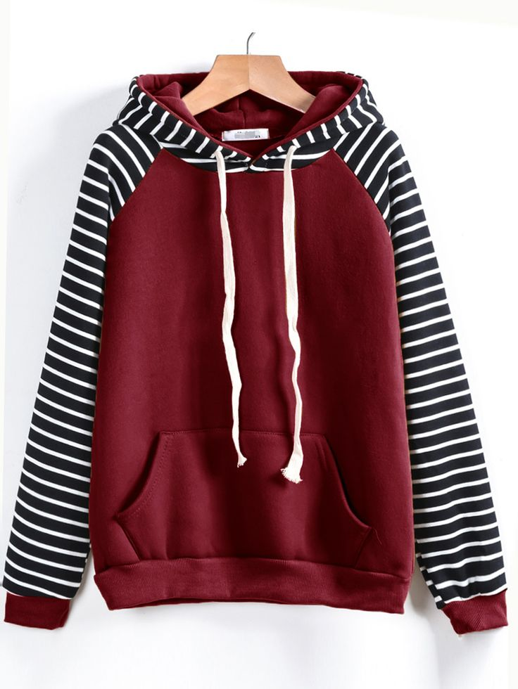 Shop Contrast Striped Raglan Sleeve Hooded Pocket Sweatshirt online. SheIn offers Contrast Striped Raglan Sleeve Hooded Pocket Sweatshirt & more to fit your fashionable needs.