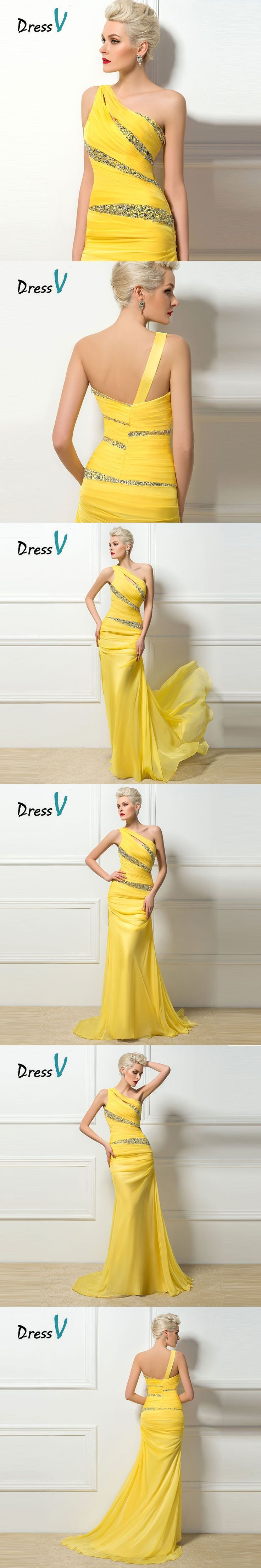 Dressv Trumpet/Mermaid Yellow Evening Dresses One shoulder Beaded Formal Sequins Long Prom Party Dress sexy sheath evening dress
