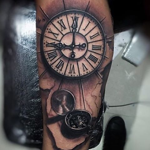 Gorgeous #clock and #compass #tattoo by Guillermo Sanchez from Venezuela ! For appointments ...