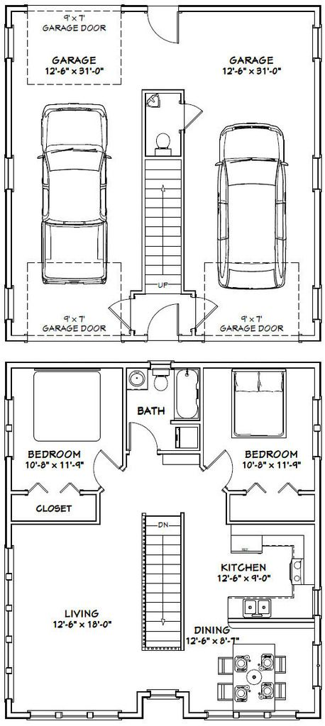 30x32 House -- #30X32H2C -- 1,014 sq ft - Excellent Floor Plans