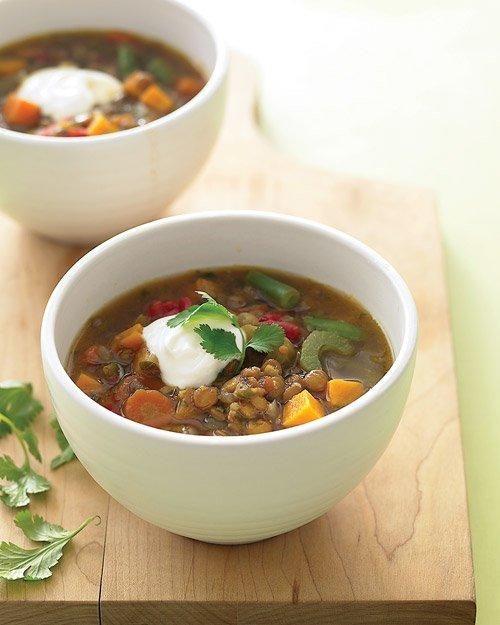 Lentil and Sweet-Potato Stew Recipe: Sweetpotato, Sweet Potatoes Stew, Freezers Meals, Martha Stewart, Stew Recipes, Potatoes Soups, Freezers Recipes, Vegetarian Soups, Lentils