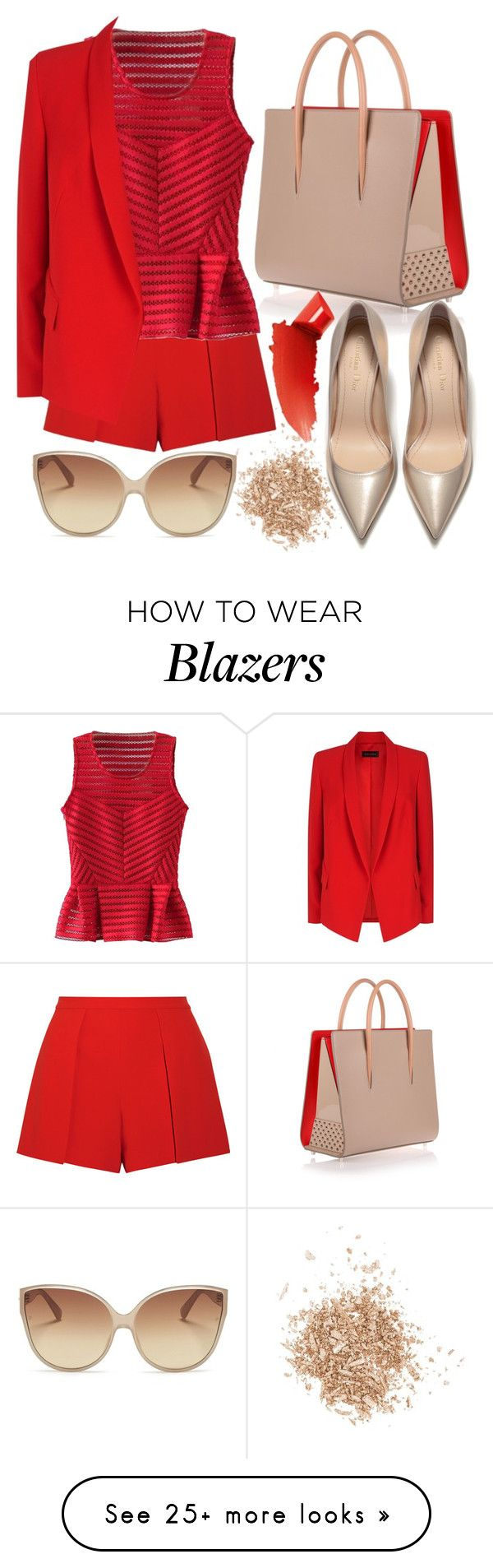 """""""Red peplum blouse"""" by yutsu on Polyvore featuring Topshop, Alice + Olivia, WithChic, Christian Louboutin, ESCADA, Linda Farrow and By Terry"""
