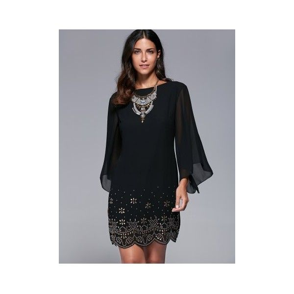 Bell Sleeve Rhinestone Embellished Dress (33 BAM) ❤ liked on Polyvore featuring dresses, flared sleeve dress and bell sleeve dress