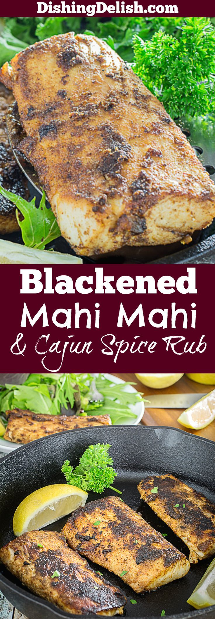 Blackened Mahi Mahi & Homemade Cajun Spice Rub is your favorite fish fillet coated in Cajun spices and pan seared to perfection. Paprika, garlic, cumin, cayenne pepper, and more combine to make the perfect flavor combination. This dish has spicy kick to it, and is perfect for pairing with a salad or even in a fish taco.