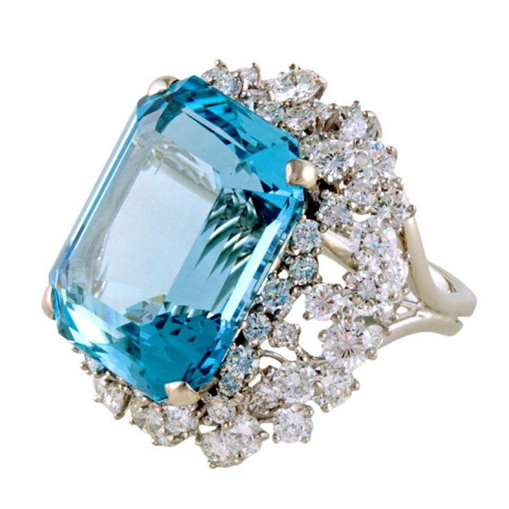 Aquamarine, Diamond, and White Gold Ring