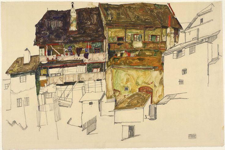 Egon Schiele, Old houses in Krumau, 1914. Opaque color and pencil on Japanese vellum. 32.5 x 48.5 cm. Albertina, Vienna, 31158