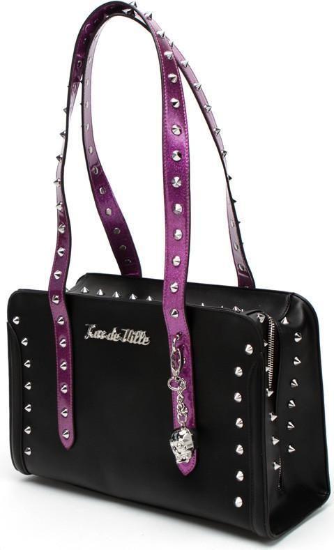 Lux De Ville - Troublemaker Black Electric Purple Sparkle Small Tote Bag