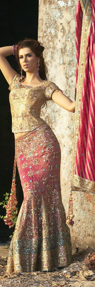If I could only look this good in this kind of dress. Indian bridal lehenga