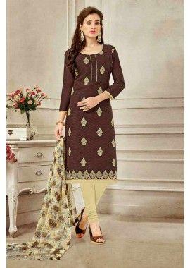 brun brasoo couleur costume coton churidar, - 61,00 €, #Salwarkameezpascher #Robebollywood #Salwarkameezenligne #Shopkund