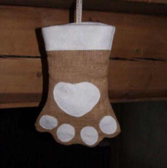 Dog paw Christmas Stocking by PicklePantsClothing on Etsy