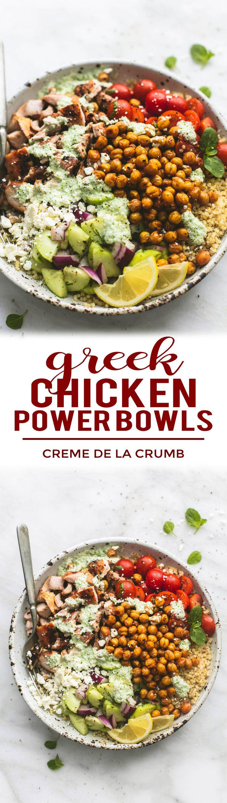 Easy and healthy Greek Chicken Power Bowls | lecremedelacrumb.com #chickendinner #healthyrecipes #easyrecipes