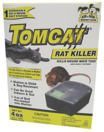 "MOTOMCO Tomcat Disposable Rat Killer by Motomco. $12.26. Child and dog resistant.. ""Resistant to weather, for indoors and outdoors."". Child and dog resistant. Resistant to weather, for indoors and outdoors.. Includes 1 refillable bait station and 16 bait refills. Includes 1 refillable bait station and 16 bait refills. Resistant to weather, for indoors and outdoors. Child and dog resistant. No need to touch the bait when placing station. Active Ingredient: Brometha..."