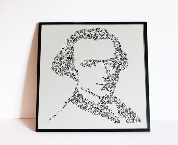 Immanuel Kant  Drawings inside the portrait  by DrawInside on Etsy