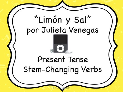 """This activity goes along with the song """"Limón y Sal"""" by Julieta Venegas, which is readily available on YouTube and iTunes. In this activity, students listen to the song and complete the missing lyrics. Then, they are asked to locate certain lines of the song, copy them, and manipulate them. The manipulation of the lyrics requires them to use stem-changing verbs in the present tense. Students will practice listening, reading, and writing in this lesson."""
