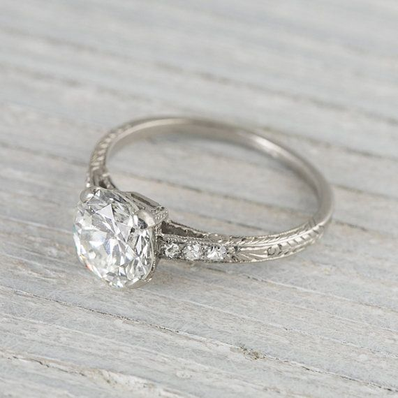 1 55 Carat Vintage Art Deco Engagement Ring By Erstwhilejewelry
